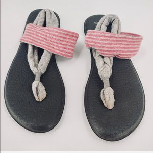 Sanuk Yoga Sling Sandals Flip Fabric Gray Pink
